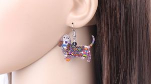 Earrings with dog - basset
